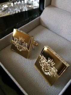 Substantial Cufflinks from London York Executive Attire:  24k Gold Plated Steel with London York Crest and Latin motto edge engraving. Coming soon www.london-york.com