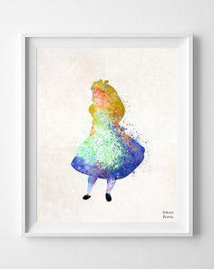 Alice in wonderland, Disney, Print, Watercolor, Poster, Nursery, Baby Room, Illustration, Watercolour, Wall, Kid Room, Home Decor [NO 132]
