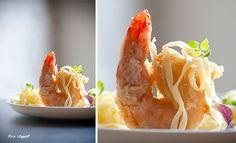 Tempura van gamba's, gele curryroom, gewokte groenten en fijne tagliatelle. - Neven Ingrid | www.mastercooks.be