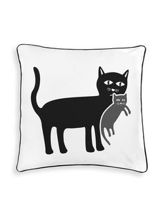 Mother Cat with Her Kitten Reversible Pillow by Naked Decor at Gilt