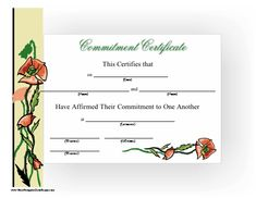 A printable commitment certificate honoring a couple and featuring wild red…