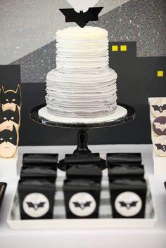 Amazing batman cake! Modern Batman Birthday Party via Kara's Party Ideas | by Sugar Coated Mama! Batman desserts, printables, recipes, and more! KarasPartyIdeas.com