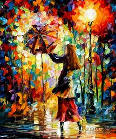 Leonid Afremov Rainy Mood oil painting reproductions for sale