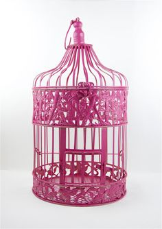 Hot Pink Decorative Birdcage - Shabby Chic - Wedding - Bridal Shower - Bird Cage. $45.00, via Etsy.
