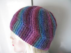 Free knitting pattern for Vertigo Hat - Kerstin Michler designed this garter stitch multi-directional beanie that showcases variegated or self-striping yarn. Bonnet Crochet, Knit Or Crochet, Crochet Hats, Loom Knitting, Free Knitting, Beanie Knitting Patterns Free, Knitting Accessories, Garter Stitch, Knit Patterns