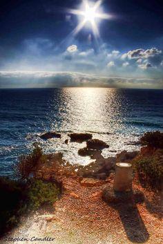 Sun on de sea at Roche, Costa de la Luz, Andalusia_ Spain