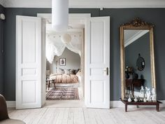 my scandinavian home: A Swedish Home With The Loveliest Earthy Blue Walls Wall Mirrors With Storage, Wall Mirrors Entryway, Lighted Wall Mirror, Big Wall Mirrors, Living Room Mirrors, Mirror Bedroom, Mirror Set, Diy Mirror, Farmhouse Wall Mirrors