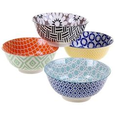 Mix & Match Chelsea Bowls Set of 4 Multi Colors & Uses Snacks Soup Ice Cream New #CertifiedInternationalCorp