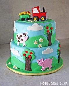 Cute Farm Yard Cake Tutorial brought to you by FMM Sugarcraft The