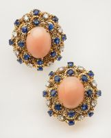 angel skin coral and sapphire earrings