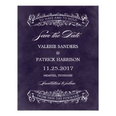 Rustic Chic Wedding Save The Date - Purple Personalized Invitations