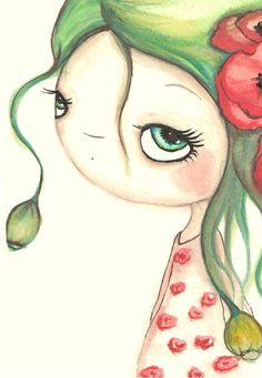 Poppy Painting Flower GirlOriginal Watercolor by thepoppytree