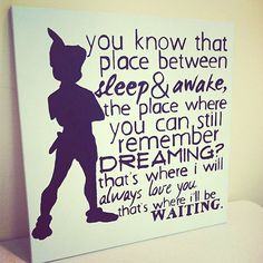 Peter Pan - Neverland - Quote - 20X20 Canvas Painting - JM Barrie - Place Between Sleep Quote