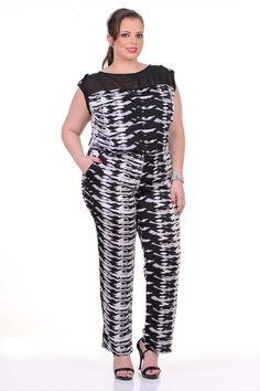 Moda feminina plus size   86806 Macacão estampado