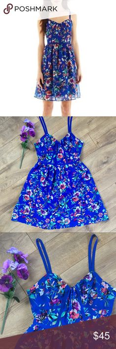 NWT NICOLE MILLER Blue Floral Dress - 6 NEw with tags. NICOLE MILLER Blue Floral Dress - size 6. Adjustable straps. Length measurement were take with straps at longest length. Lined dress. No issues. Excellent condition. Nicole by Nicole Miller Dresses
