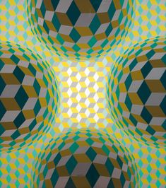 Great inspiration for Children's Art Class= Optical Illusion art ...by Victor Vasarely - Retze, 1975, acrylic on canvas