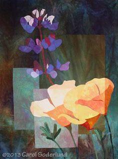 Poppies and Lupine art quilt by Carol Soderlund