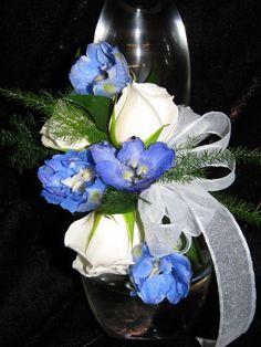 Blue Delphinium and White Spray Rose Wrist Corsage
