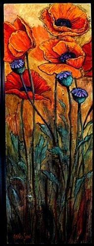 Poppy Garden by Carol Nelson Acrylic ~ 36 x 12
