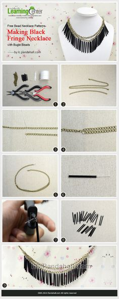 Free Bead Necklace Patterns- Making Black Fringe Necklace with Bugle Beads
