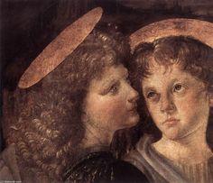 Le Baptême du Christ (détail), huile de Leonardo Da Vinci (1452-1519, Italy)