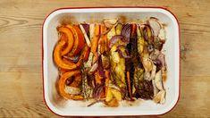 Une recette colorée et saine pour marier les légumes de l'automne et de l'hiver. Tacos, Beef, Vegetables, Cooking, Ethnic Recipes, Food, Other Recipes, Oven Roasted Veggies, Meat