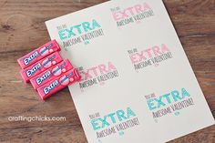 valentine, free printable, gum valentine, extra awesome valentine