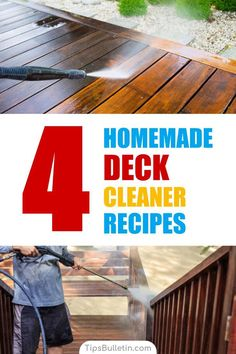 Find out how to clean your deck and outdoor area with 4 homemade deck cleaner recipes. Perfect cleaning tips on how to make a mildew and algae, murphys oil mildew cleaner as well as bleach or soapy deck scrub. Ideal for manual or pressure washer use. Cleaning Deck Wood, Cleaning Mold, Cleaning Painted Walls, Deep Cleaning Tips, Diy Cleaning Products, Cleaning Hacks, Diy Products, Cleaning Solutions, Cool Deck