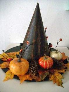 Halloween Centerpiece - alternative to skull.Grandmommy would probably like this better Halloween Witch Hat, Holidays Halloween, Halloween Treats, Fall Halloween, Happy Halloween, Halloween Party, Witch Hats, Halloween Quilts, Holiday Crafts