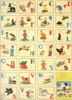 vintage abc francais flashcards printed on wrapping paper by cavallini & co.