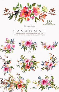 Savannah - Watercolor Floral Set by SmallHouseBigPony on Watercolor Texture, Watercolor Background, Watercolor Flowers, Watercolor Paintings, Watercolors, Floral Illustrations, Illustration Art, Decoupage, Floral Bouquets