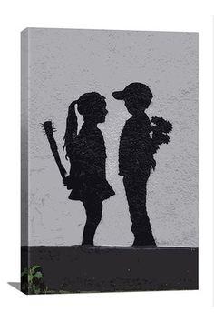 Street Art: Boy Meets Girl 12in x 18in Canvas Print