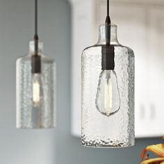 A refined take on industrial design, this mini pendant features a clear glass shade and classic Edison bulb. Hang one above your nightstand for space-saving bedside illumination, or suspend several above the bar for a stylish finishing touch. Farmhouse Pendant Lighting, Island Pendant Lights, Kitchen Pendant Lighting, Kitchen Pendants, Island Pendants, Glass Pendants, Mini Pendant Lights, Light Pendant, Kitchens