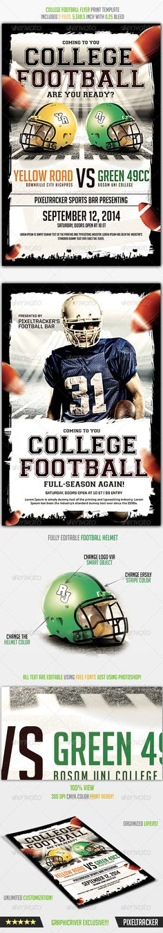 College Football Flyer Poster Template Full PSD Flyer Here: http://graphicriver.net/item/college-football-flyer-poster-template/8143135