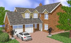 House Plans Uk, Brick Cottage, Types Of Houses, Sims 4, Home And Family, Lounge, Cabin, How To Plan, House Styles