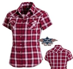 Stars and Stripes Western Style Shirt, Western Shirts, Kurti Neck Designs, Blouse Designs, Plaid Shirt Women, Designs For Dresses, Country Shirts, Dance Outfits, Shirts & Tops