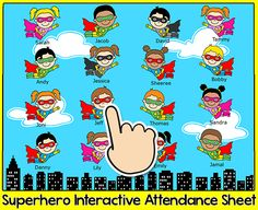 Have fun taking attendance with this fun Superhero theme interactive attendance sheet! Students touch their hero character when they arrive in class and their character will fly off screen. By Pink Cat Studio