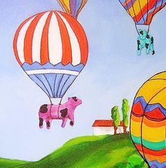 Cow Art Hot Air Balloons Farm Friends Folk Art by RisingStarArt