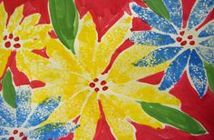 Sponge Printmaking Poinsettia Art Lesson from Deep Space Sparkle