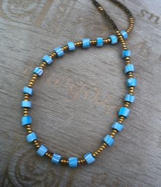 Turquoise and gold necklace beaded necklace by LiloLilsEmporium