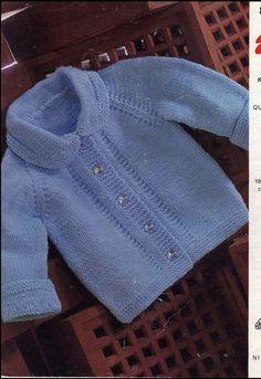 Vintage PDF Baby Knitting Pattern - Emu 8244 - cardigan Instant Download on…