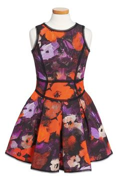 Girl's Milly Minis Floral Print Pleat Dress, Size