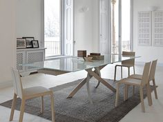 Bontempi Casa Artistico Glass Extendable Dining Table by R&D Bontempi  - Chaplins