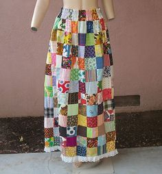 VINTAGE 1970s WOMENs BOHO HIPPIE QUILTED PATCHWORK MAXI SKIRT ADJUSTABLE WAIST