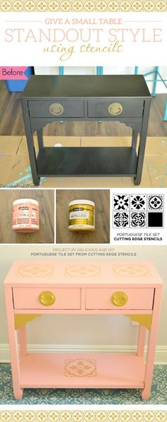 Cutting Edge Stencils shares a DIY stenciled console table makeover using our Portuguese Tile Stencil Kit.  http://www.cuttingedgestencils.com/portuguese-tile-stencils-patchwork-tiles-stencil-azulejos.html