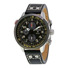 Men's Black Dial Prospex Sky Solar Chronograph Black Leather Watch - Seiko - Shop by Brand | World of Watches