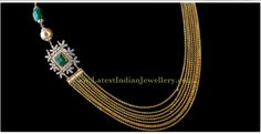 Latest Chandra haram (multi chain) Design with Diamond Side Pendant/Motif   Latest Indian Jewellery Designs