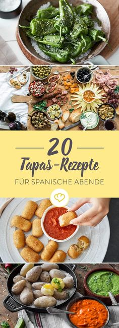 Tapas zubereiten – 20 spanische Häppchen für Genießer Tapas stand for enjoyment and joie de vivre. If that sounds like you and your friends, then organize your own tapas evening with great recipe ideas. Quick Recipes, Summer Recipes, Healthy Recipes, Tapas Recipes, Mexican Food Recipes, Tapas Ideas, Fingerfood Recipes, Brunch Recipes, Clean Eating Snacks