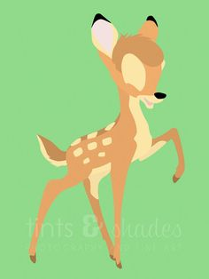 Bambi 8x10 Minimalist Poster by TintsShadesFineArt on Etsy