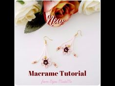 DIY jewelry macrame tutorial. How to make sweet floral macrame earrings. - YouTube